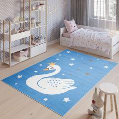 JOLLY Teppich Kinderteppich Kurzflor Spielmatte Blau Sterne Schwan