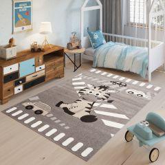 FIESTA Kinderteppich Teppich Grau Taupe Meliert Zebra Tiere Autos