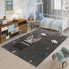 FIESTA Kinderteppich Grau Dunkelgrau Blau Kaninchen Hut Zauberei