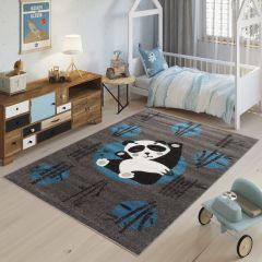 FIESTA Tapis Chambre Enfant Gris Foncé Bleu Blanc Noir Panda Doux