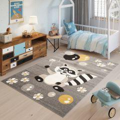 FIESTA Teppich Kurzflor Grau Taupe Gelb Meliert Waschbär Tiere