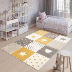 FIESTA Teppich Kurzflor Grau Gelb Creme Modern Patchwork Sterne