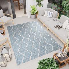 Terazza Teppich Sisal Modern Marokkanisch Wellen Blau Creme