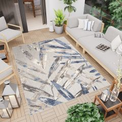 PATIO Outdoor Indoor Sisal Modern Terrace 3D Effect Grey Blue Leaves
