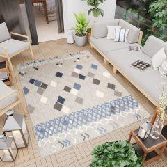 PATIO Outdoor Indoor Sisal Modern Terrace 3D Effect Grey Blue Ethnic