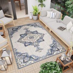 PATIO Outdoor Indoor Sisal Traditional Terrace 3D Effect Grey Blue