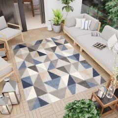 PATIO Outdoor Indoor Sisal Modern Geometric 3D Effect Grey Blue