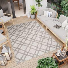 PATIO Outdoor Indoor Sisal Modern Lines Terrace 3D Effect Grey