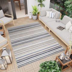 PATIO Outdoor Indoor Sisal Modern Lines Terrace 3D Effect Grey Blue