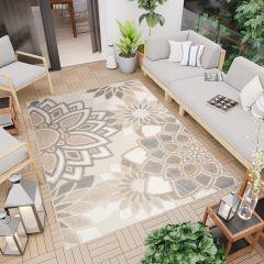 PATIO Outdoor Indoor Sisal Flowers Terrace 3D Effect Cream Grey