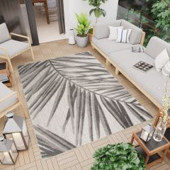PATIO Outdoor Indoor Sisal Leaves Palm Terrace 3D Effect Grey