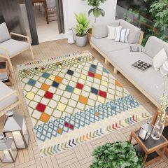 PATIO Teppich Outdoor Indoor 3D Karo Mehrfarbig Marokkanisch Sisal