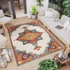 PATIO Teppich Outdoor Indoor 3D Mehrfarbig Creme Ornament Sisal