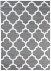 LUXURY Area Rug Modern Short Pile Trellis Moroccan Grey White