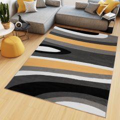 Maya Teppich Kurzflor Modern Streifen Design Schwarz Weiß Gelb
