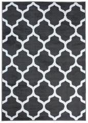 LUXURY Area Rug Modern Short Pile Trellis Moroccan Dark Grey White