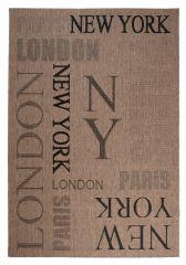 FLOORLUX Vloerkleed Tapijt Bruin Zwart New York Paris London Design