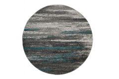 SARI Teppich Rund Grau Blau Modern Streifen Design