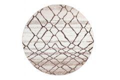 SARI Teppich Rund Creme Braun Modern Netz Design Meliert