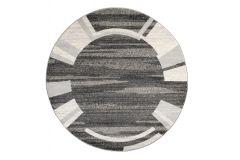 SARI Teppich Rund Grau Schwarz Modern Streifen Bordüre