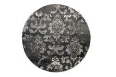 SARI Teppich Rund Dunkelgrau Floral Vintage Design