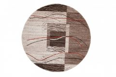 SARI Teppich Rund Braun Beige Rot Modern Streifen Meliert
