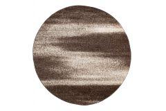SARI Teppich Rund Braun Modern Verwischt Streifen Design