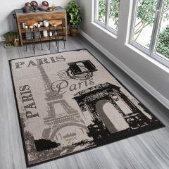 FLOORLUX Teppich Flachgewebe Sisal Schwarz Creme Schrift Paris
