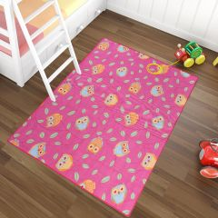 NINO Area Rug Children Room Bedroom Play Mat Happy Owl Pink
