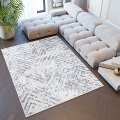SKY Teppich Kurzflor Beige Grau Zig Zag Modern Design
