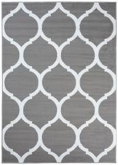LUXURY Area Rug Modern Short Pile Round Trellis Grey White