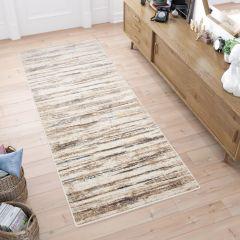 ASTHANE Teppich Läufer Beige Braun Gelb Blau Vintage Streifen