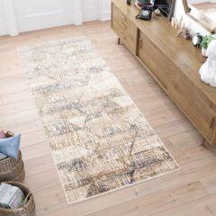 ASTHANE Teppich Läufer Beige Baun Blau Vintage Karo Abstrakt