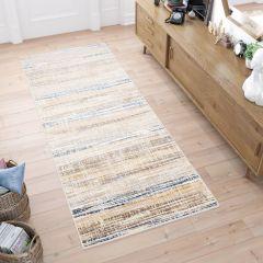 ASTHANE Teppich Läufer Beige Braun Gelb Blau Vintage Abstrakt