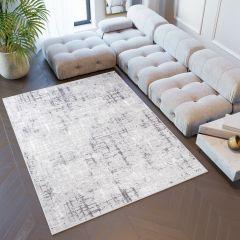 SKY Teppich Kurzflor Grau Modern Design Streifen Meliert
