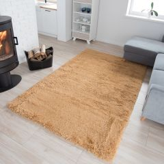SILK Tapis Moderne Beige Antidérapant Super Moelleux Shaggy