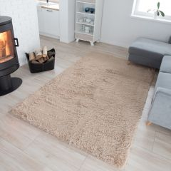 SILK Tapis Moderne Beige Clair Antidérapant Super Moelleux Shaggy