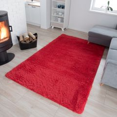 SILK Tapis Moderne Rouge Antidérapant Super Moelleux Shaggy