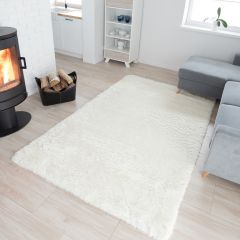 SILK Tapis Moderne Ivoire Antidérapant Super Moelleux Shaggy