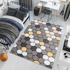 PIMKY Area Rug Teenager Grey Yellow Hexagon Geometric Durable