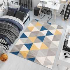 LAZUR Teppich Kurzflor Dreiecke Grau Creme Blau Gelb