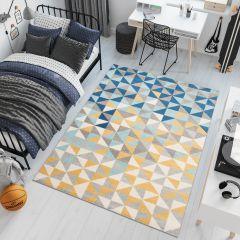 LAZUR Teppich Kurzflor Figuren Grau Creme Blau Gelb