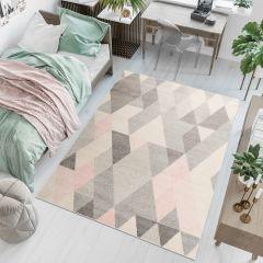 LAZUR Teppich Geometrisch Dreiecke Grau Creme Rosa