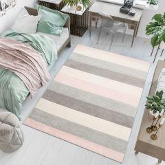 LAZUR Teppich Kurzflor Modern Streifen Grau Creme Rosa