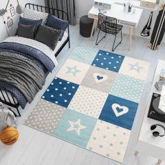 LAZUR Teppich Kinderzimmer Kurzflor Grau Creme Blau