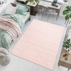 FLORIDA Teppich Kurzflor Rosa Hell Pink Einfarbig Modern