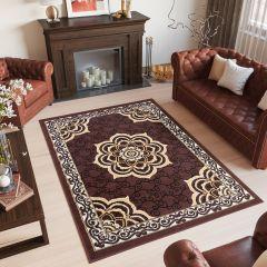 Bali Teppich Kurzflor Klassisch Braun Floral Ornament