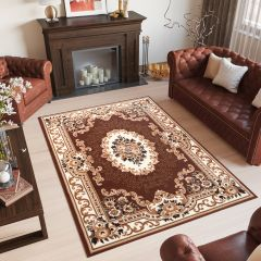 LAILA Tapis Traditionnel Ornamental Floral Bordé Marron Crème Doux