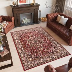 LAILA Tapis Traditionnel Ornamental Floral Bordé Rouge Beige Doux