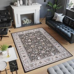 LAILA Tapis Traditionnel Ornamental Floral Bordé Noir Beige Doux